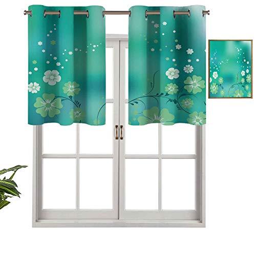 Hiiiman Cenefa para ventana de privacidad interior, panel mágico floral arreglo místico con diseño de hojas, pétalos espirales, juego de 2, 54 x 24 pulgadas para puerta corredera de patio o co