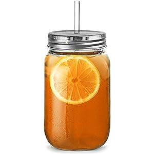 Kunststoff Mason Trinken Glas Becher 568ml–Set 4| Bar @ drinkstuff San Kunststoff Trinken Gläser mit Deckel & Trinkhalm, Glaskrüge