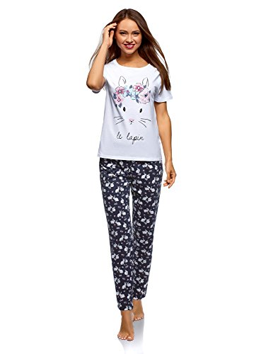 oodji Ultra Damen Baumwoll-Schlafanzug mit Pyjama-Hose, Weiß, DE 36 / EU 38 / S