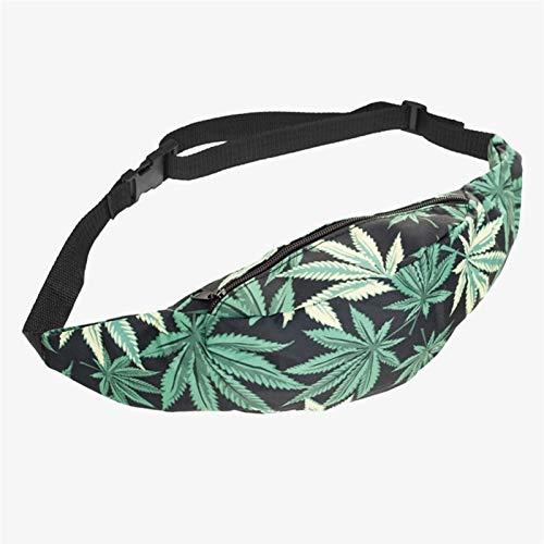 Impresión 3D Weed Hot Venta Black Deporte Bolsa Bolsa Bolsa Fanny Pack Bolsas Bolsas Hombres Pocket Moda Viajes Unisex Bolso BUM (Color : Bpc32080)