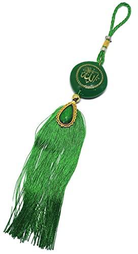 Car Mirror Hanging Ornament Islam AMN-269 Muslim Vehicle Decor Allah Arabic Names Ayatul Kursi Design Pendant Calligraphy Eid Ramadan Personalized Gift (Green)