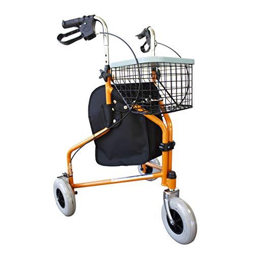 Mobiclinic, Modelo Caleta, Andador para ancianos, mayores y minusválidos, Rollator de acero, andador caminador, ligero, regulable en altura, frenos en las manetas, plegable, cesta, 3 ruedas, naranja 🔥
