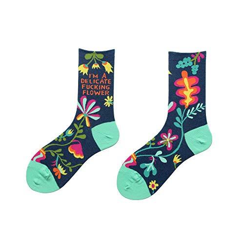 Dzwyc 1 PC Art und Weise Retro Frauen Tropische Kletterpflanze mit Blumenmustern Cotton Socken Herbst-Winter-warme Socken Dunkelgrau, Braun, Grün-Rosa-Blau (Color : Blue)