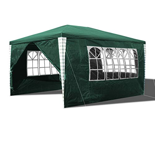 Hengda Gazebo 3x4m Tendone per feste stabile padiglione da giardino impermeabile padiglione con 4 parti laterali telone in PE per feste in giardino