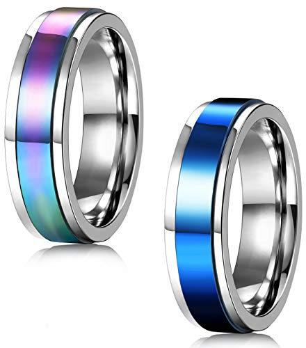 FIBO STEEL 2 Pcs 6MM Stainless Steel Spinner Rings for Men Women Promise Ring,Size 6