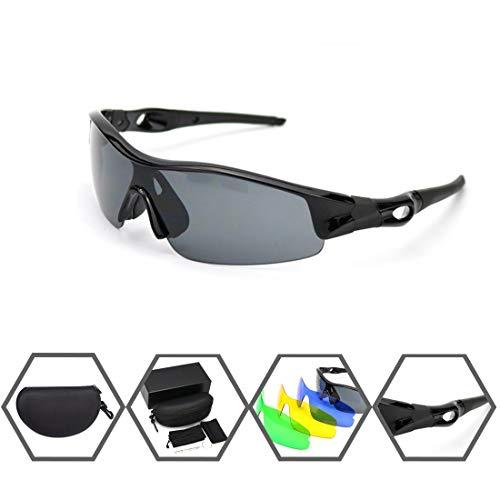 Gafas ciclistas de Cheelom, gafas de sol deportivas polarizadas de montura irrompible, gafas de bicicleta para hombres Mujeres con 4 lentes intercambiables, anti-UV400 para...