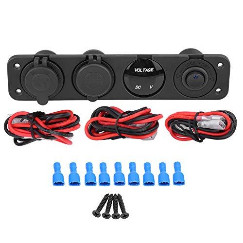 Daytesy Cargador USB-12-24V LED Cargador USB Dual Voltímetro Encendedor de cigarros Toma de Corriente Interruptor de Panel de 4 Orificios(Azul)