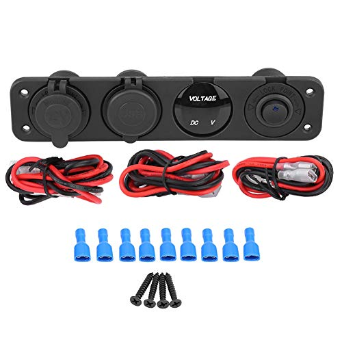 Aramox 12-24V LED Dual Cargador USB Voltímetro Encendedor de Cigarrillos Toma de Corriente Interruptor de panel de 4 Orificios(blue)