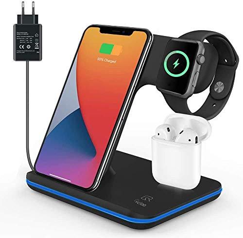Wireless Charger, 3 in 1 Induktive Ladestation mit QC 3.0 Ladegerät, Kabellose Ladestation Kompatibel für iPhone 12/11 Pro Max/Se 2/XS/XR/8 Plus/X, für Apple Watch/Air pods und Qi-fähige Geräte