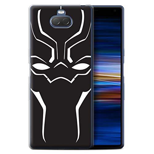 eSwish telefoonhoesje voor Sony Xperia 10 Plus 2019 Black Panther Geïnspireerd gezichtsmasker ontwerp transparante zachte Flexi Gel/TPU Cover