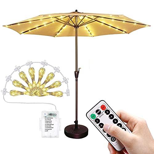 Spurleh 104 LEDs Sonnenschirm Beleuchtung mit Fernbedienung, 8 Modi Batteriebetriebene LED Sonnenschirm Lichter, IP67 Wasserdichte Umbrella Lights Ideal für Outdoor Dekoration
