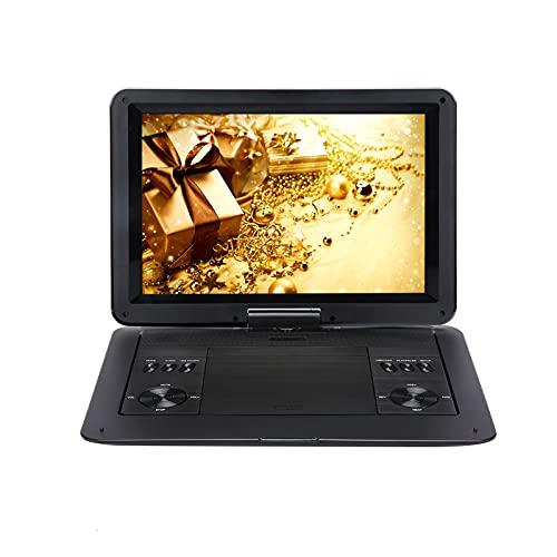ZXD Reproductor de DVD portátil de 16.5 Pulgadas con Pantalla Grande de Alta definición de 14.6 Pulgadas, batería Recargable de 6 Horas, Soporte para USB/Tarjeta SD/TV sincrónica y múltiples