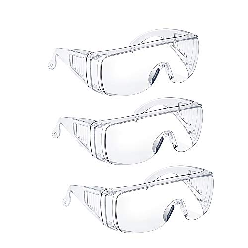 Safety Glasses Over Glasses Goggles Protective Eyewear - Anti Fog Glasses Shooting Glasses Eye Protection with Clear Vision,Scratch & UV Resistant Safety Glasses Fit Over Prescription Glasses for Work Lab Men Women 3 Pack Clear