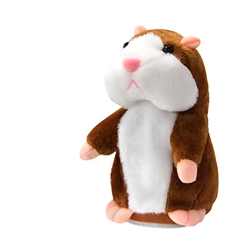 Talking Hamster Plush Toy, Repeat What You Say Funny Kids Stuffed Toys, Talking Record Plush Interactive Toys for, Birthday Gift Kids Early Learning (Brown)