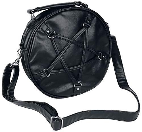 Bolso gótico, negro, redondo con pentagrama