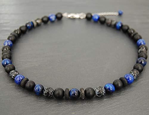 Collana mista in agata smerigliata, occhio di tigre blu elettrico sfumato, lapislazzuli, pietre 10mm uomo donna, nero e blu