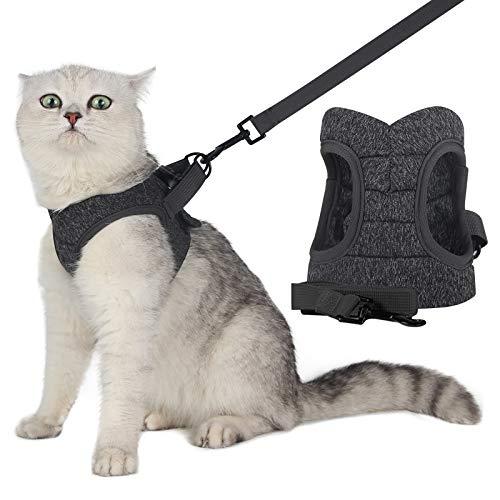 WD&CD Katzengeschirr mit Leine Ausbruchsicher (Größe L) für Katzen Welpengeschirr Weich Kaninchengarnitur Katzen Weste für Kitten Hunde Grau