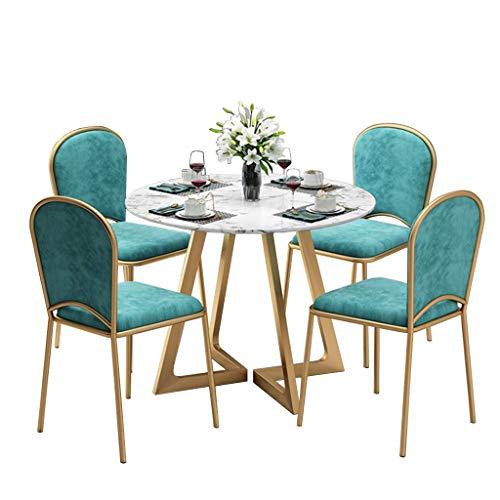 QQXX 5-delige eetkamerstoel salontafelset, eettafel met marmeren plaat, keukenstoel, fluweel bekleed, goudmetalen poten, 5 kleuren a 1