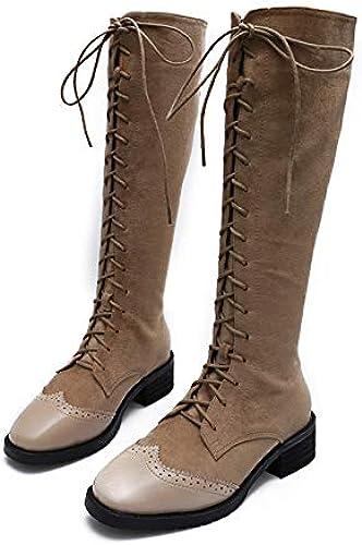 Shukun Botines botas Martin de otoño e Invierno, Gruesas para mujer con tacón Alto botas Altas botas largas con botas Pero botas hasta la Rodilla