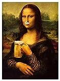YZL Patrones de Punto de Cruz, 1 1CT Kits de Bordado para Adultos Principiantes Bricolaje Hecho a Mano Home Wall Decor Arts Crafts -Haloween Regalos-Bebe Cerveza Mona Lisa (Size : 40x50cm)