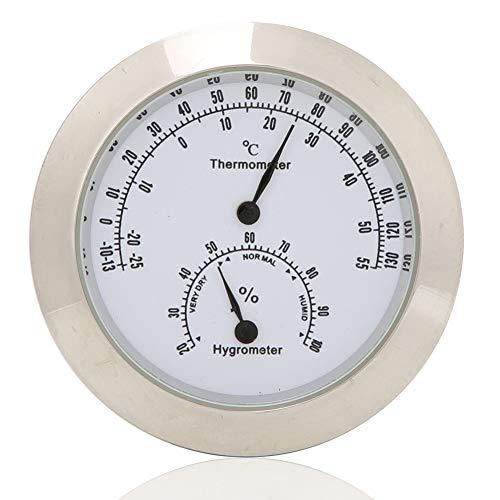 Bnineteenteam Rundes Thermometer Hygrometer Feuchtetemperaturmessgerät für Violine Gitarrenkoffer Instrumentenpflege(Silber)