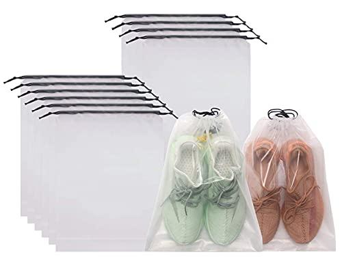 FunYoung 10x Schuhbeutel mit Zugband PE Schuhtasche, wasserdichte Kordeltasche, Multifunktionale Aufbewahrungstasche, Kofferorganizer Packbeutel Set, Packsack mit Tunnelzug