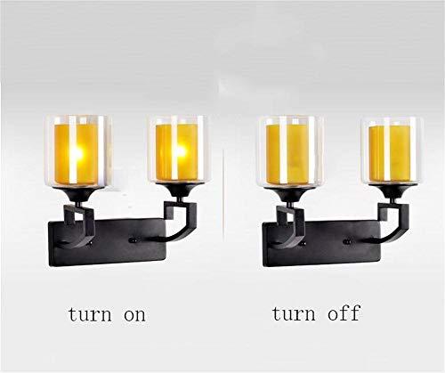 MTCGH Lámpara de Pared Creativa Moderna, Dormitorio de Pared Pequeña Posmoderna Neoclásica, Pasillo de Cabecera, Escalera, Luz Continental Pastoral Retro,Doble
