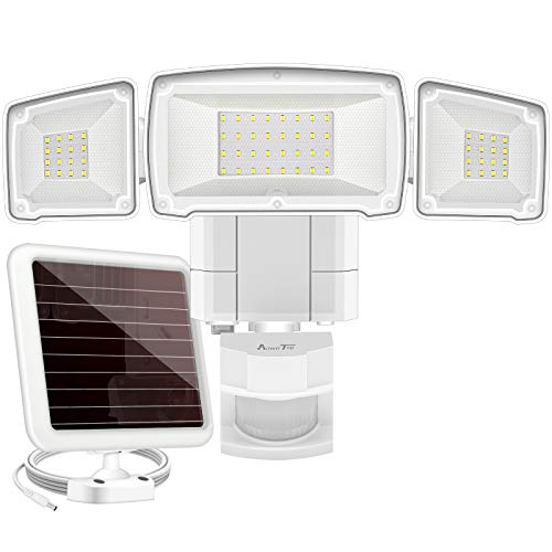 Solar Lights Outdoor, AmeriTop Super Bright LED 1600LM 6000K Solar Motion Sensor Lights with Wide Angle Illumination; 3 Adjustable Heads, IP65 Waterproof Outdoor Security Lighting (White)