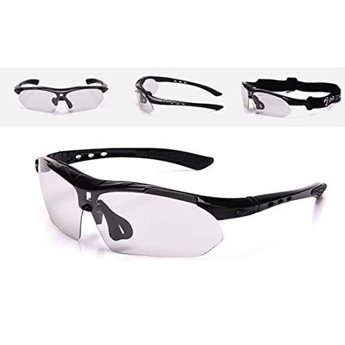 FANCYKIKI Radfahren Brille Fahrrad Farbwechsel Brille Erwachsene Outdoor-Brille geeignet for Outdoor-Reiten Cricket-Sonnenbrille (Farbe : Schwarz)