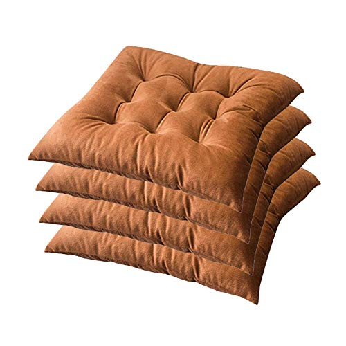 MWPO Set of 4 Wicker Seat Cushion, for Indoor Outdoor Chair Seat Cushions Home Floor Cushion Solid Square Patio Furniture Cushions 40X40cm,Brown