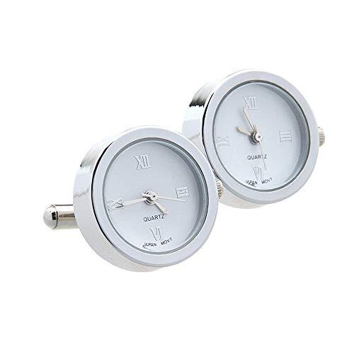 Edelstahl Quarz UhrenmanschettenknöPfe Uhren Uhrwerk Elektronisches Uhrwerk ManschettenknöPfe (Weiß)