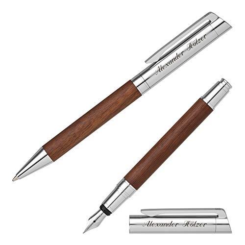 Senator Schreibset TIZIO 6252 Nussbaumholz Kugelschreiber Füller mit persönlicher Gravur und Geschenk-Etui