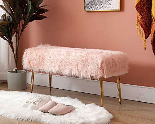 """Guyou Modern Long Faux Fur Ottoman Bench Footrest Stool, Bed End 17.7""""H 2 Man Bench Seat with Gold Metal Legs for Bedroom/Living Room/Entryway (Cherry Blossom Pink)"""