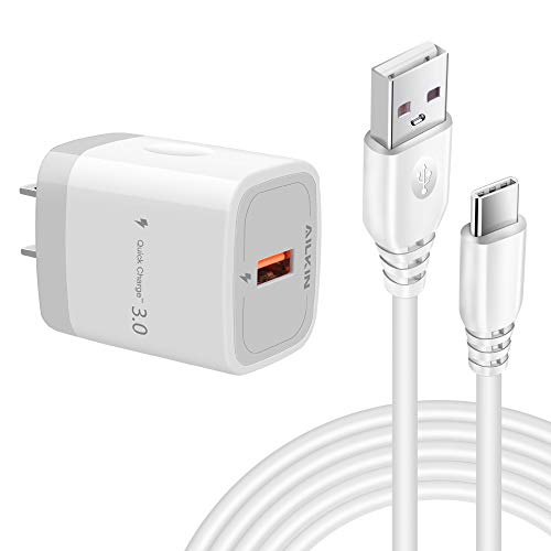 AILKIN Fast Charge 3.0 USB Wall Charger Block with 6.6Ft Type C Long Cord for Note 10 Plus Charger Cable, Samsung Galaxy Note10 S10e Plus A10e A50 A20 S9 S8, LG Stylo 5 4 G8 G7 G6, Moto Z4 Z3 Force