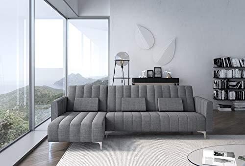 Skraut Home - Divano reversibile, grigio chiaro con strisce, chaise longue, modello Milano, trasformabile in letto