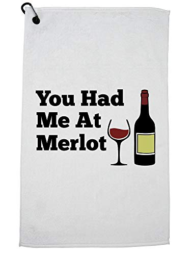 Hollywood draad je had me bij Merlot - Hilarische wijn drinken grafische golf handdoek met karabijnhaak clip