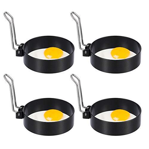 Auidy_6TXD 4 Stück Edelstahl Ei Ring, 8.7cm Spiegeleiform für Bratpfanne Ei Ringe Pfannkuchenform Rund Omelett Form von Spiegelei Pfannkuchen