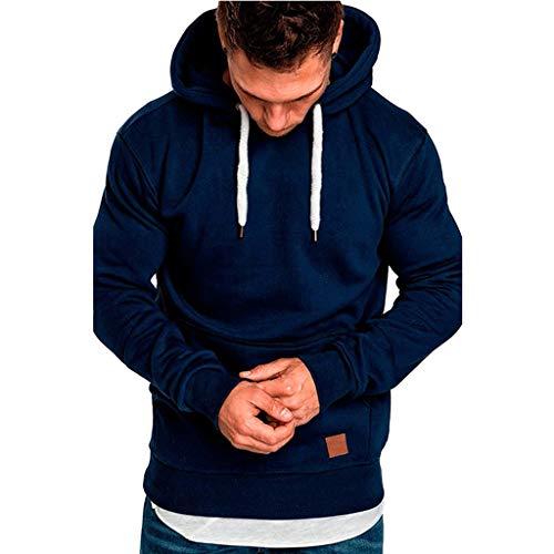 Herren Slim Fit Hoodies MäNner Oversize Casual Langarm Pullover Tops Herbst Winter Solide/Print Lose Kapuze Fleece Sweatshirt(Dunkelblau,M)