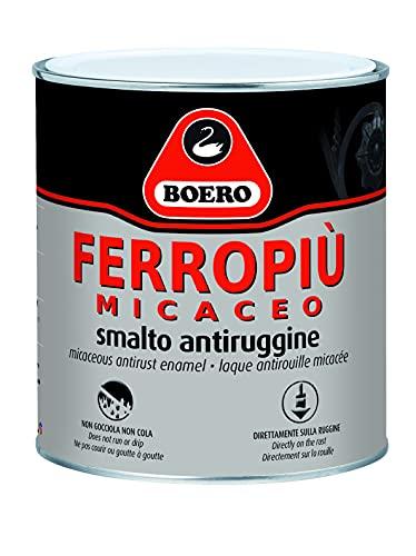 FERROPIU  MICACEO BOERO SMALTO ANTIRUGGINE X INTERNI ED ESTERNI APPLICABILE DIRETTAMENTE SULLA RUGGINE, ASPETTO ANTICO LT. 0,750 GRIGIO CHIARO GRANA FINE.