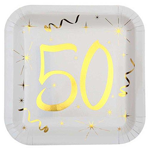 Chal - 10 Assiettes anniversaire 50 ans blanc et or