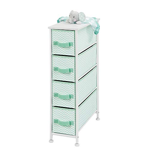 mDesign Cajonera de tela – Práctico mueble cómoda con 4 cajones – Estrecho sistema de almacenamiento para el dormitorio, la habitación o el lavadero – Armario con cajones – verde menta/blanco