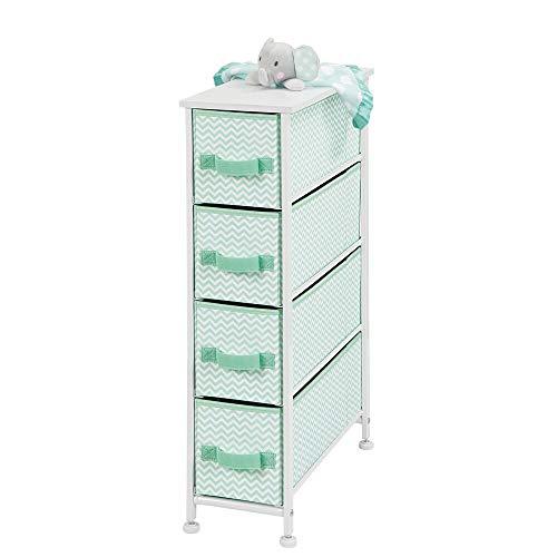 mDesign - Ladekast met 4 lades - opberger/organizer - voor slaapkamer/studeerkamer/wasruimte - smal/stof - Mintgroen/wit