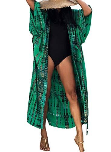 CORAFRITZ Kimono largo para mujer, estilo informal, para playa, para cubrir el verano, a la moda, teñido anudado