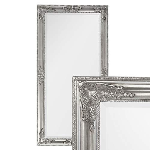 LEBENSwohnART Wandspiegel BESSA Silber antik 120x60cm barock Design Spiegel pompös Holzrahmen