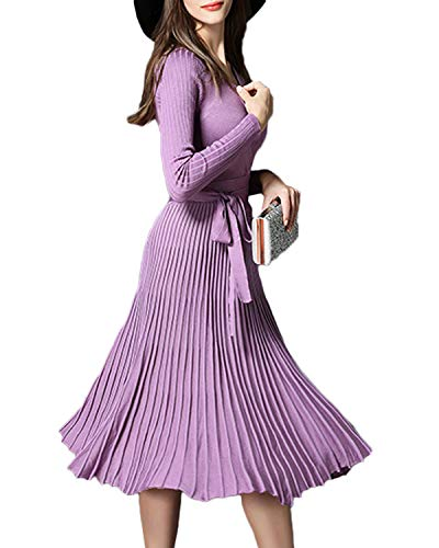 Women V Neck Long Sleeve Mock Wrap Fit Flare Belted Knit Sweater Dress