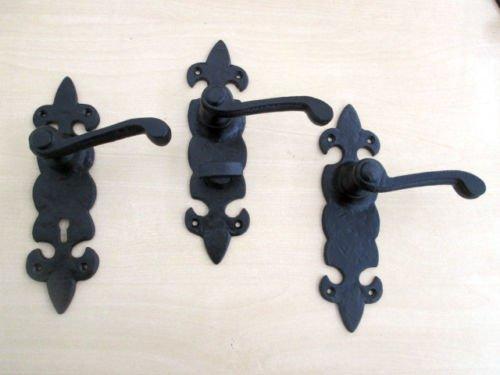 Ironmongery World® 1par Negro antiguo forjado hierro fundido góticas tradicionales–Mangos de puerta (para puertas manilla para asas)