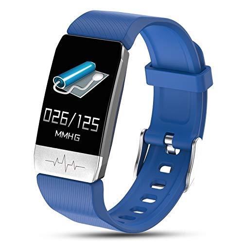 45532rr 1,14 Zoll-Farbbildschirm Smart Watch IP67 wasserdicht, Support Call Reminder/Herzfrequenz-Messung/Sedentary Erinnerung/Sleep-Monitoring/EKG-Überwachung (Color : Blue)