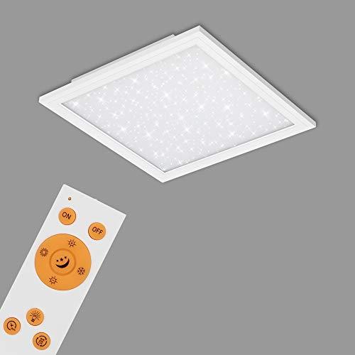 Briloner Leuchten - LED Panel, Deckenlampe inkl. Sternendekor, Deckenleuchte dimmbar, Farbtemperatursteuerung (CCT), inkl. Fernbedienung, 18 Watt, 1.800 Lumen, Weiß, 295x295x55mm (LxBxH), 7301-016