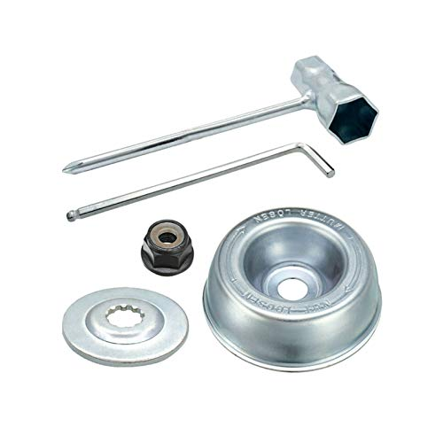 Blade Adapter Attachment Maintenance Kit For Stihl FS55 FS56 FS70 FS80 FS83 FS85 FS90 FS100 FS110RX FS120 FS130 FS200 FS250 FR85 FR220 FR350 FR450 (Thrust Washer, Rider Plate, Collar Nut, Wrench)