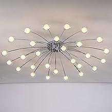Modern Living Room Chandelier Led Lamp Glass Lampshade Light Fixtures Bedroom Kitchen Decor Home Lighting Chrome Metal Lus...